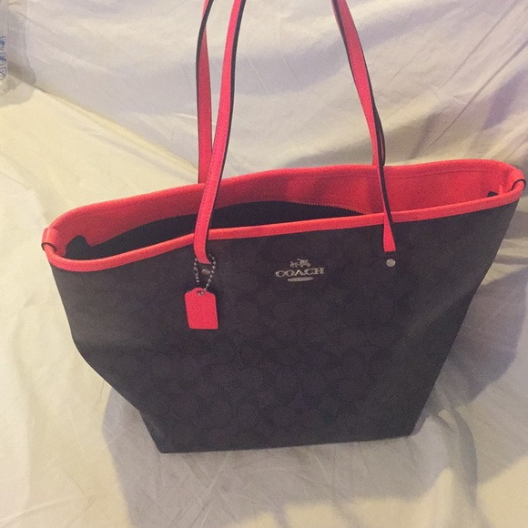 2988bfc0e53 Coach Monogram Tote , dark brown and hot pink